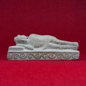 Buddha Marmor Figur geschnitzt reich verziert 16 cm breit