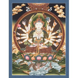 Thangka Avalokiteshvara Chenresig 18-armed flawless high quality printing