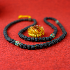 "Mala schwarze Halskette ""Antik look"" Rudraksha Nepal Buddha Nepalbuddha 86g"