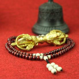 Mala rosewood brown chain lake shell meditation Nepal Buddha mantra Buddha