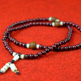 """Mala Rosenholz Bodhi Baum Braun Halskette """"gute Qualität"""" Muschel Buddhismus 87c"""