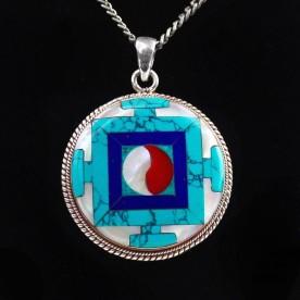 Filigranes Jade Amulett aus 925 Sterling Silber