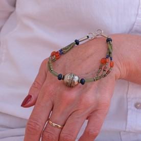 Edelstein Armband Karneol, Lapislazuli und Serpentin