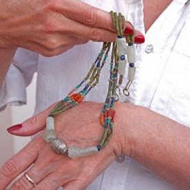 Edelstein Halskette Serpentin und Karneol