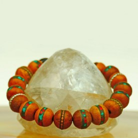 bracelet made of precious wood with inlay