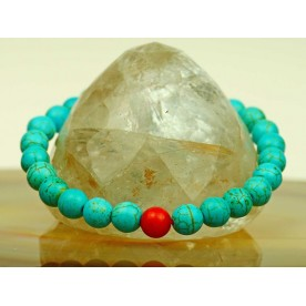 Beautiful, feminine ball bracelet of turquoise and carnelian ball