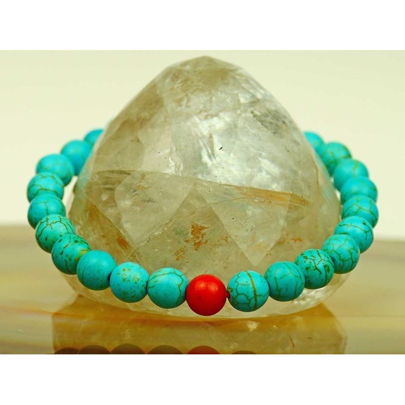 Beautiful, feminine ball bracelet of turquoise and carnelian ball