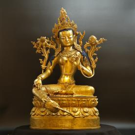 """Green Tara Statue """"Top Quality"""" Buddha Nepal (15 Kg) Gold Meisterstück Unikat"""