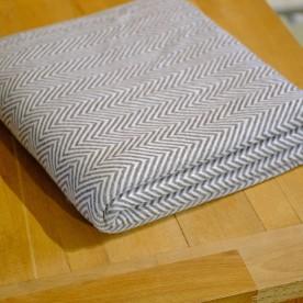 Handgewebte Kaschmirdecke Grau-Weiß