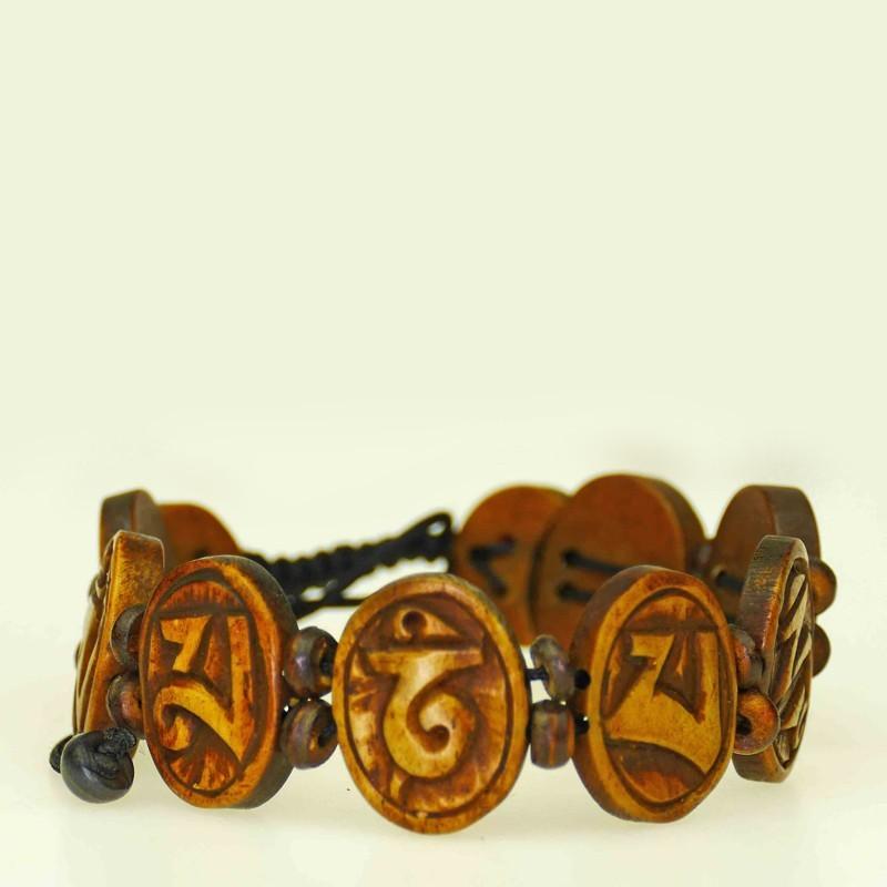 Beautiful bracelet of dark brown colored bone