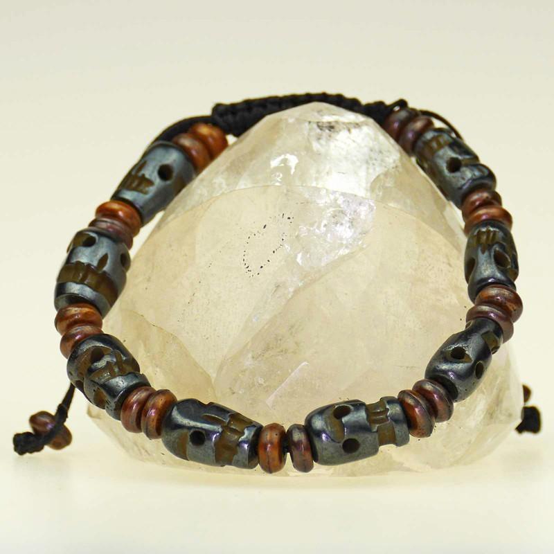 Dark brown skull bracelet made of bone