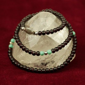 Mala black necklace turquoise fish silver pearl