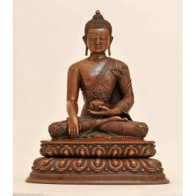 Detailed Buddha Akshobhya stature of copper in the best quality